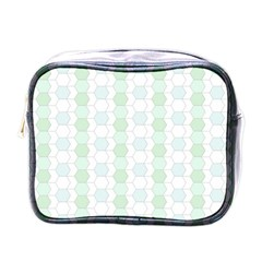 Allover Graphic Soft Aqua Mini Travel Toiletry Bag (one Side)