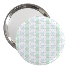 Allover Graphic Soft Aqua 3  Handbag Mirror