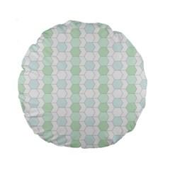 Allover Graphic Soft Aqua 15  Premium Round Cushion