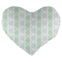 Allover Graphic Soft Aqua 19  Premium Heart Shape Cushion