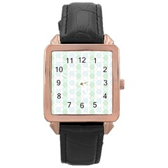 Allover Graphic Soft Aqua Rose Gold Leather Watch