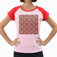 Allover Graphic Brown Women s Cap Sleeve T-Shirt (Colored)