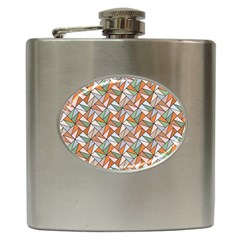 Allover Graphic Brown Hip Flask