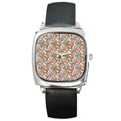 Allover Graphic Brown Square Leather Watch