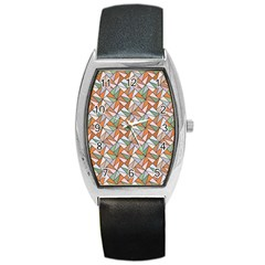 Allover Graphic Brown Tonneau Leather Watch