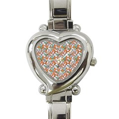 Allover Graphic Brown Heart Italian Charm Watch