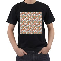 Allover Graphic Brown Mens' Two Sided T-shirt (Black)