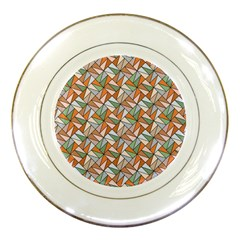Allover Graphic Brown Porcelain Display Plate