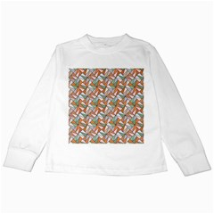 Allover Graphic Brown Kids Long Sleeve T-Shirt