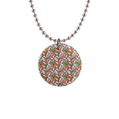 Allover Graphic Brown Button Necklace