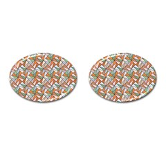 Allover Graphic Brown Cufflinks (Oval)
