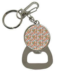 Allover Graphic Brown Bottle Opener Key Chain