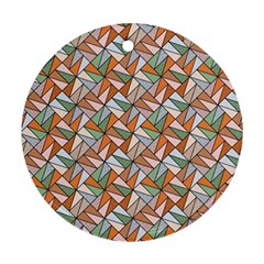 Allover Graphic Brown Round Ornament (two Sides)