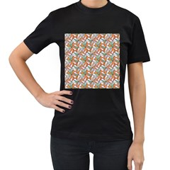 Allover Graphic Brown Womens' T-shirt (Black)