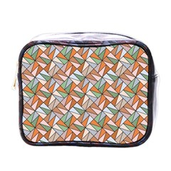 Allover Graphic Brown Mini Travel Toiletry Bag (One Side)