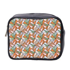 Allover Graphic Brown Mini Travel Toiletry Bag (two Sides)