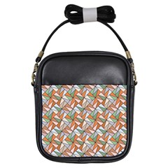 Allover Graphic Brown Girl s Sling Bag