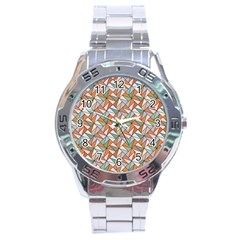 Allover Graphic Brown Stainless Steel Watch