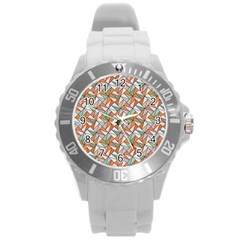 Allover Graphic Brown Plastic Sport Watch (large)