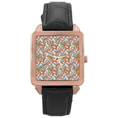 Allover Graphic Brown Rose Gold Leather Watch