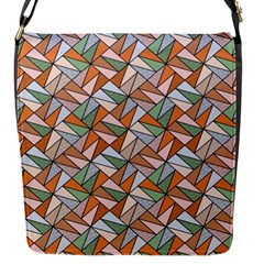 Allover Graphic Brown Flap Closure Messenger Bag (Small)