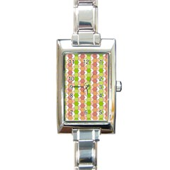 Allover Graphic Red Green Rectangular Italian Charm Watch