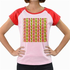 Allover Graphic Red Green Women s Cap Sleeve T-Shirt (Colored)