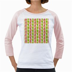 Allover Graphic Red Green Women s Long Cap Sleeve T-Shirt (White)