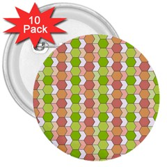 Allover Graphic Red Green 3  Button (10 pack)