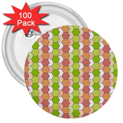 Allover Graphic Red Green 3  Button (100 pack)