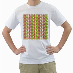 Allover Graphic Red Green Mens  T-shirt (White)