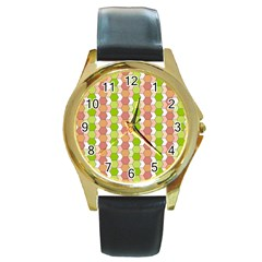 Allover Graphic Red Green Round Leather Watch (Gold Rim)