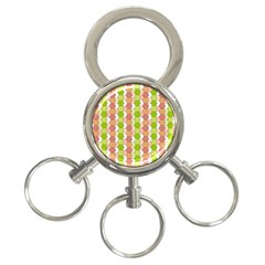 Allover Graphic Red Green 3-Ring Key Chain