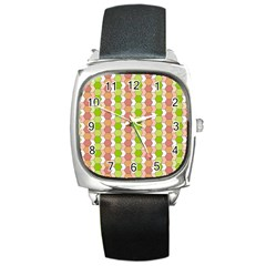 Allover Graphic Red Green Square Leather Watch