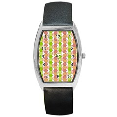 Allover Graphic Red Green Tonneau Leather Watch