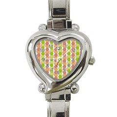Allover Graphic Red Green Heart Italian Charm Watch
