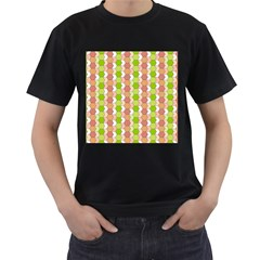 Allover Graphic Red Green Mens' Two Sided T-shirt (Black)