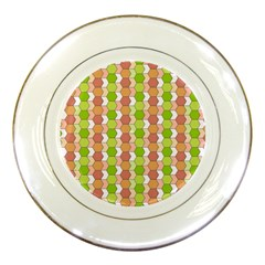 Allover Graphic Red Green Porcelain Display Plate