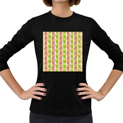 Allover Graphic Red Green Womens' Long Sleeve T Shirt (dark Colored)