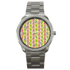 Allover Graphic Red Green Sport Metal Watch