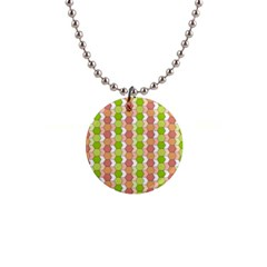Allover Graphic Red Green Button Necklace