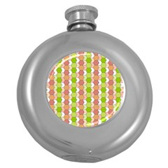 Allover Graphic Red Green Hip Flask (Round)