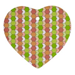 Allover Graphic Red Green Heart Ornament (two Sides)