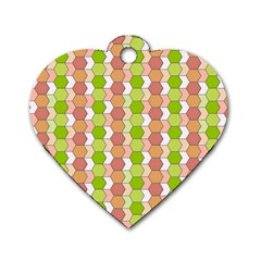 Allover Graphic Red Green Dog Tag Heart (Two Sided)