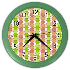 Allover Graphic Red Green Wall Clock (Color)