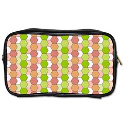 Allover Graphic Red Green Travel Toiletry Bag (one Side)