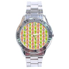 Allover Graphic Red Green Stainless Steel Watch