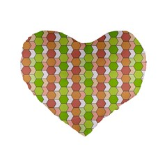 Allover Graphic Red Green 16  Premium Heart Shape Cushion