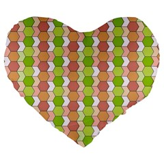 Allover Graphic Red Green 19  Premium Heart Shape Cushion