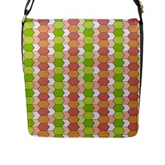 Allover Graphic Red Green Flap Closure Messenger Bag (Large)